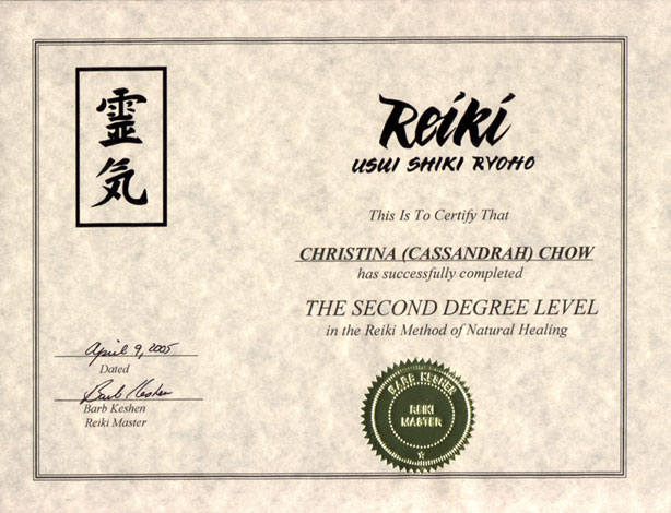 Level Two Reiki Certificate