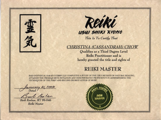 Level Three Reiki Certificate