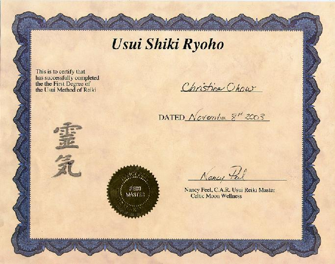 Level One Reiki Certificate
